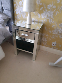 Mirror glass bedside cabinets