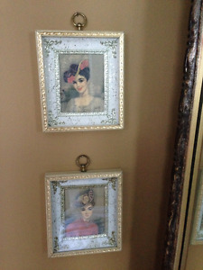 Set of 2 Victorian Lady Portraits by Colette in Golden Frame