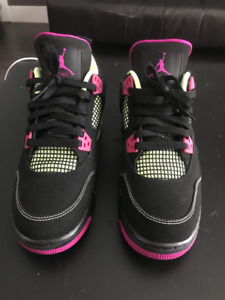 NIKE AIR JORDAN 4 RETRO 30TH GG WOMEN YOUTH BLACK FUSHIA LIME 7