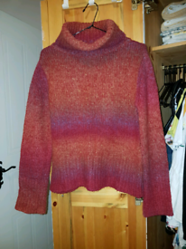 M&S Red/multi-coloured Wool size10-12 Jumper.