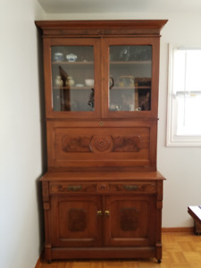 Antique Burled oak secretary desk with library and cupboard.