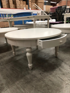 6 White Ikea Coffee Tables - Isala Table with drawer
