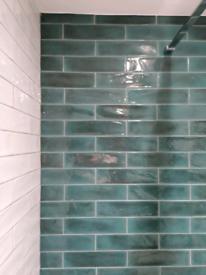 Wall metro tiles emerald green