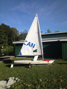 Race Rigged Laser Radial Sailboat