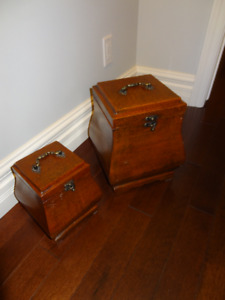 """Set of 2 decorative boxes , larger is 13"""" H and 10""""x10"""""""