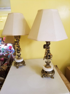 Vintage Table Lamps with Cherubs