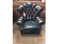 RARE Style Chesterfield Leather Wing Chair - UK Delivery