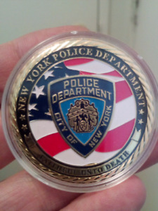 Large 45mm New York Police Department Detective Gold Plated Coin