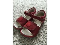 Clarks red sandals infant girl size 8