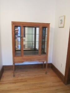 Curio Vitrine Glass Display Cabinet ANTIQUE 1900-1910