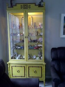Unique, All Wood Display Cabinet with Interior Light & Storage