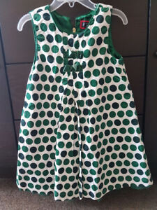 4T  Thick ,green Christmas dress for girls