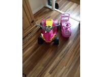 Children's electric quad and peppa pig car