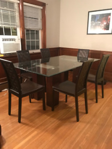 Large Glass Dining Room Table & 6 Chairs