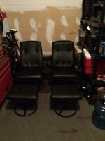 Leather recliners with ottoman