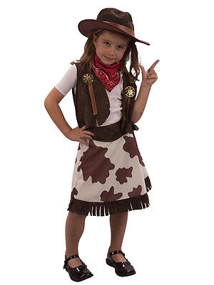 Cowgirl Childs Fancy Dress Kids Wild Western Girls Costume Outfit & Cowboy Hat