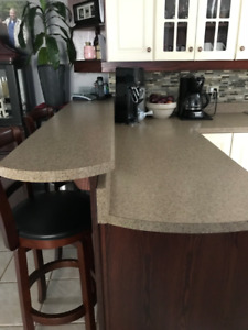 Used L Shaped Counter top /with Top Bar /supports / & Facing OBO
