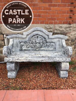 Large Outdoor Bench, Concrete Composite, Painted, Stone Look