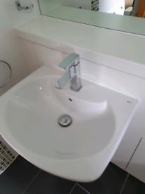 Roca Dama senso basin sink semi pedestal (wall hung) - white