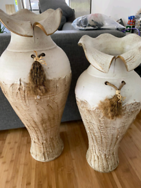 2 large Victorian style vases