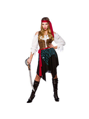 Womens Pirate Outfit (Ladies Caribbean Pirate Lady Costume Womens Fancy Dress Outfit Sizes)