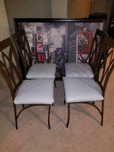 4 brown metal chairs reupholstered covered with vinyl leather