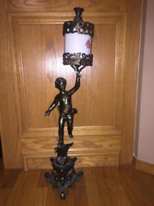 ONE ANTIQUE CHERUB LAMP & HAND MADE VASE FROM CANADA FOR SALE