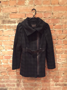 Mackage wool coat and leather belt