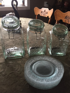 Glass jugs and plates