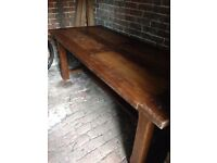 Solid Rustic French Oak Dining Table and 4 Chairs