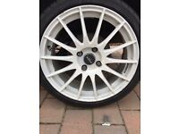 4 x 17 inch Fox Racing alloys with excellent tyres. Fiesta. Ford. Focus. Swap.