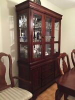 Prillos Cherry-brown colour dining table & hutch set.