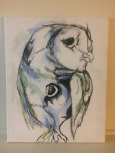 Art, Painting, Owl, Water colour, 50$ or best offer