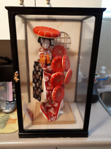 Japanese Doll in Glass Case