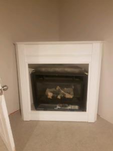 Corner gas fireplace.