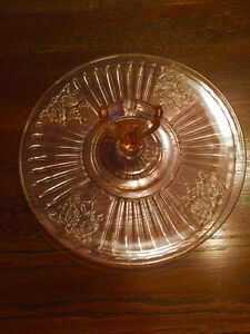 Mayfair Plate Pink Depression Glass Rose Sandwich Server Tray