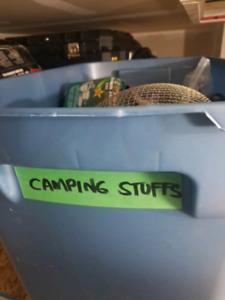 Full bin of camping stuffs