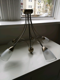 Antique brass ceiling light and wall lights