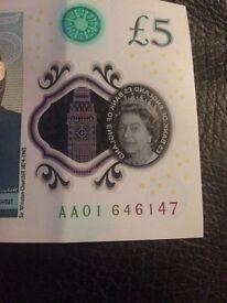 Rare AA01 £5 Five Pound Note