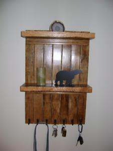 Toboggan Key/Leash  Rack W/Oak Shelves