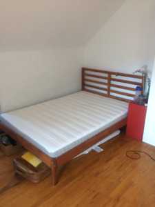 stained TARVA ikea full bed frame