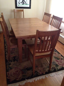 Oak Harvest table + 6 chairs
