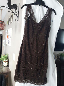 Womens brown lace dress