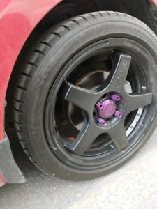 "17"" wheels Ev5 universal 4 bolt with new tires"