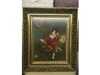 Vintage framed tapestry of boy in red