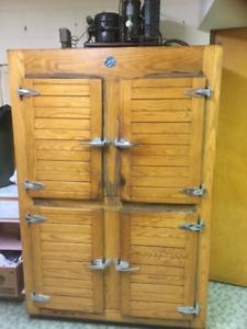 ANTIQUE SOLID OAK FOUR DOOR REFRIGERATOR