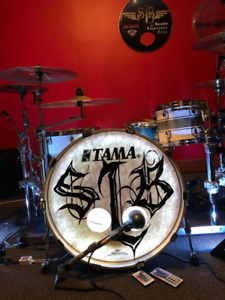 Tama Starclassic maple drums with flight drum racks