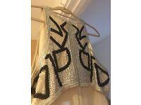 Asos Art Deco Great Gatsby nude black beaded maxi dress wedding prom RRP £120 Size 18