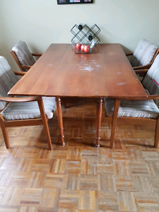 Table and four chairs.