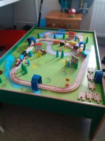 Wooden train table and train set